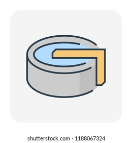 Water treatment tank icon for water treatment work, editable stroke.