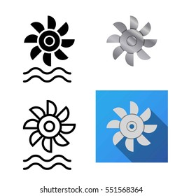 Water turbine icons in flat and silhouette style