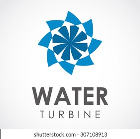 Water turbine machine circle energy abstract vector logo design template business technology icon company identity symbol concept