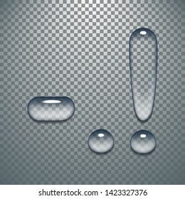 Water typeface with transparent pattern letter exclamation mark of a latin font. Vector lettering alphabet characters, drop-type distorted symbols with splash effect. Liquid still gel droplets
