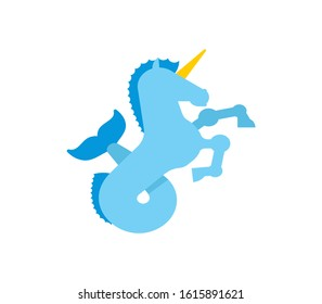 Water unicorn Hippocampus Mythical animal. Heraldic beast isolated. Sea horse with fishtail