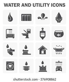 Water usage and utility vector icon set design.