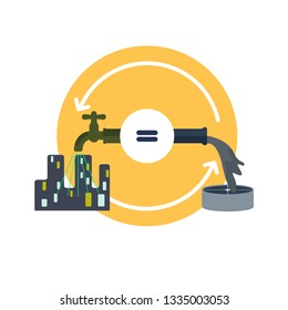 Water use concept. Balance cycle metaphor. City water consumption and treatment.  Symbol of water conservation. Vector illustration flat design style.