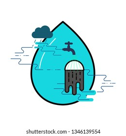 Water use concept. Balance cycle metaphor. Water consumption and treatment. Symbol of water conservation. Vector illustration outline flat design style.