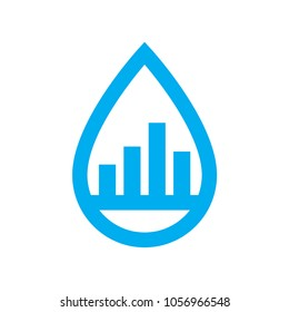 Water use consumption icon. Blue graph in water drop symbol isolated on white background. Vector illustration.