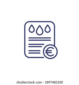 water utility bill line icon with euro