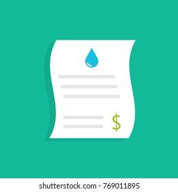 Water utility bills. Vector illustration