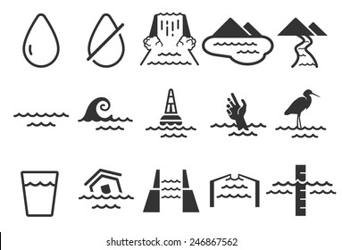 Water vector illustration icon set. Included the icons as water drop, waterfall, dam, flood, cannel, river and more.