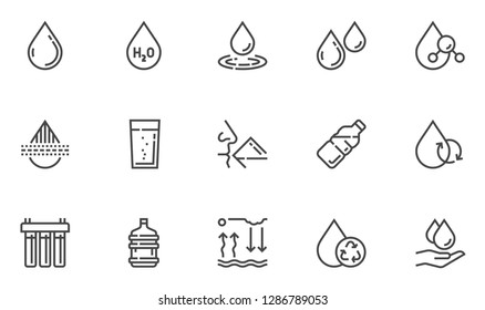 Water Vector Line Icons Set. Water Purification, Water Filter. Clean, Drinking, Purified, Bottled Water. Editable Stroke. 48x48 Pixel Perfect.