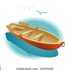 Water walk on boat. Illustration of wooden boat for a romantic rendezvous on the water.