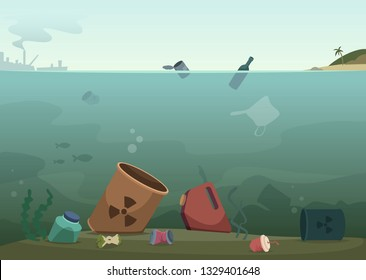 Water waste. Nature pollution plastic bottles in ocean debris dirty animals trash save nature vector concept background