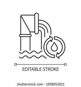 Water and wastewater linear icon. Protecting public health. Sewer system. Ecosystem. Thin line customizable illustration. Contour symbol. Vector isolated outline drawing. Editable stroke