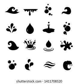 Water, wave, aqua vector icon set.