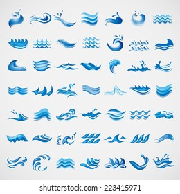 Water And Wave Elements Set - Isolated On Gray Background - Vector Illustration, Graphic Design Editable For Your Design