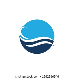 Water Wave Icon Logo Template Vector Logo with yellow sun and blue sea waves