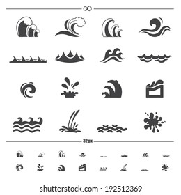 water wave icons.vector eps10