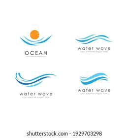 Water Wave illustration logo template vector