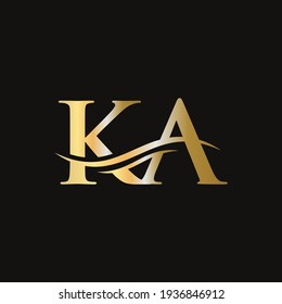 Water Wave KA Logo Vector. Swoosh Letter KA Logo Design for business and company identity