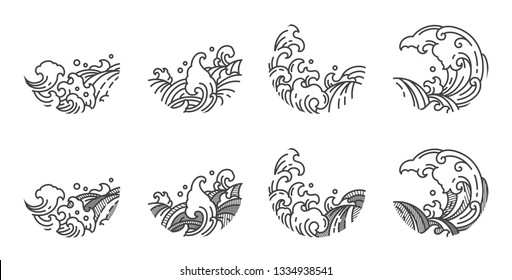 Water wave line logo. Single line style. Japanese.Thai.Chinese.