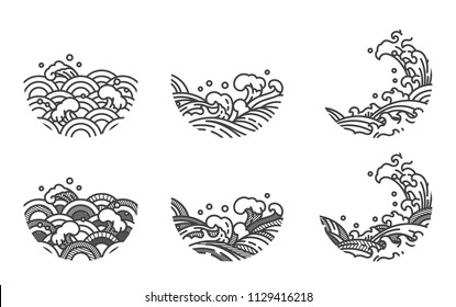 Water wave line logo template.Japanese.Thai.