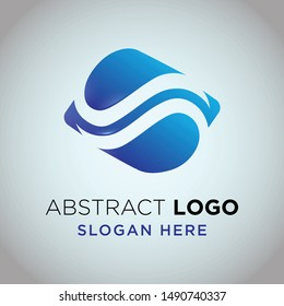 water wave logo abstract blue colour gradient