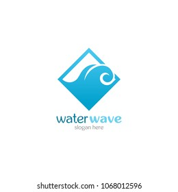 Water Wave Logo abstract design vector template. Cosmetics Surf Sport Logotype concept. Aqua icon