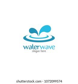 Water Wave Logo abstract design vector template. Cosmetics Surf Sport Logotype concept. Aqua icon