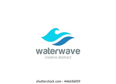 Water Wave Logo abstract design vector template. Aqua icon.