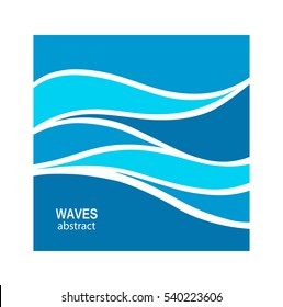 Water Wave Logo abstract design. Cosmetics Surf Sport Logotype concept. Square aqua icon.