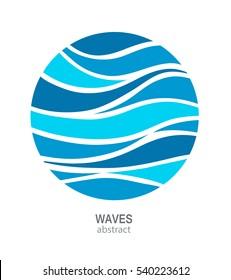 Water Wave Logo abstract design. Cosmetics Surf Sport Logotype concept. Round aqua icon.