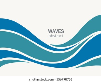 Water Wave Logo abstract design. Cosmetics Surf Sport Logotype concept.