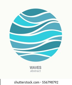 Water Wave Logo abstract design. Cosmetics Surf Sport Logotype concept. Round aqua icon.