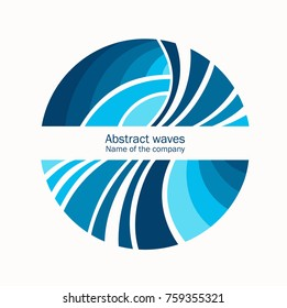 Water Wave Logo abstract design. Cosmetics Surf Sport Logotype concept. Round frame, aqua icon.