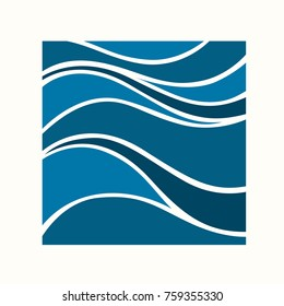 Water Wave Logo abstract design. Cosmetics Surf Sport Logotype concept. Square frame, aqua icon.