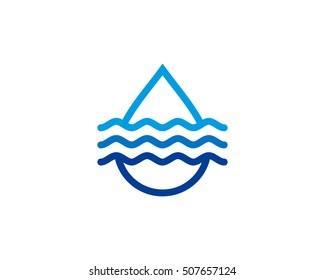 Water Wave Logo Design Template Element
