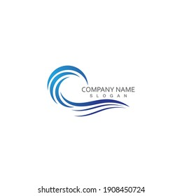 Water wave logo Template illustration Icon