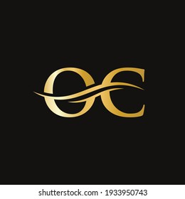 Water Wave OC Logo Vector. Swoosh Letter OC Logo Design for business and company identity