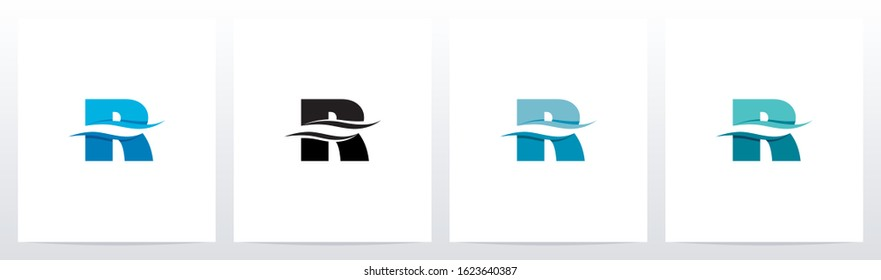 Water Wave On Letter Logo Design R