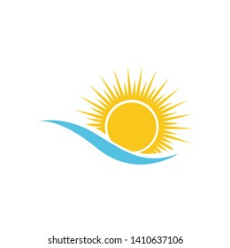 Water wave and sun icon vector illustration design logo - Vector