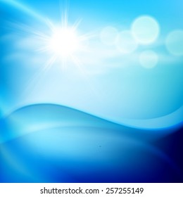 Water wave in sunny day. EPS10 vector.