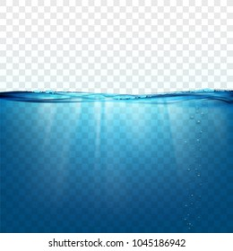 Water wave surface on a transparent background. Sun rays and air bubbles underwater. Stock vector illustration.