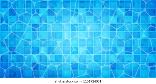 Water wave in swimming pool with light reflecting. Swimming pool top view background. Vector illustration. Eps 10.