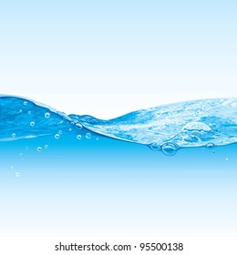 Water wave transparent surface with bubbles, vector illustration