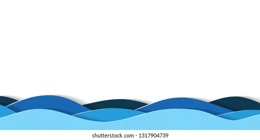 Water waves background with copy space. Abstract multilayered cartoon papercut illustration.