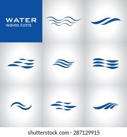 Water waves icons, vector dark blue design
