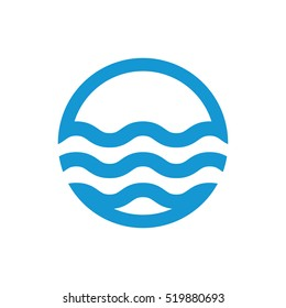 Water waves logo. Sea flowing sign. Water symbol. Blue. Vector illustration.
