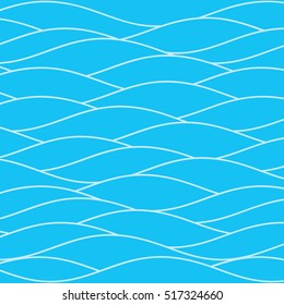 Water Waves of Ocean Sea River or Swimming Pool Authentic Wallpaper - Light Shape Outlines on Cyan Blue Background - Flat Color Graphic Style