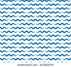 Water waves seamless pattern, vector curve lines