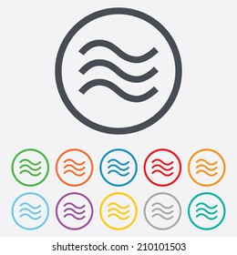 Water waves sign icon. Flood symbol. Round circle buttons with frame. Vector