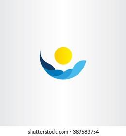 water waves sun icon vector logo element sign design